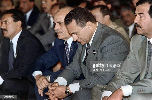 Iraqi President Saddam Hussein Egyptian President Hosni Mubarak Jordanian King Hussein and North Yemeni President Ali Abdullah Saleh attend the...