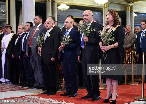 The winners of the 2015 Nobel Peace Prize Tunisian National Dialogue Quartet members President of the Tunisian employers union Wided Bouchamaoui...