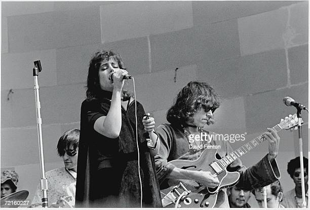From right American singers songwriters and musicians Jorma Kaukonen Grace Slick and Marty Balin of the psychedelic rock band 'Jefferson Airplane'...