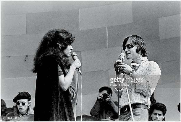 From right American singers songwriters and musicians Marty Balin Grace Slick and Jack Casady of the psychedelic rock band 'Jefferson Airplane'...