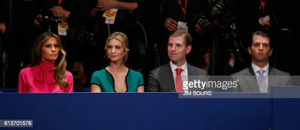Donald Trump Jr Eric Trump Ivanka Trump and Melania Trump are seated for the second presidential debate between Republican presidential nominee...