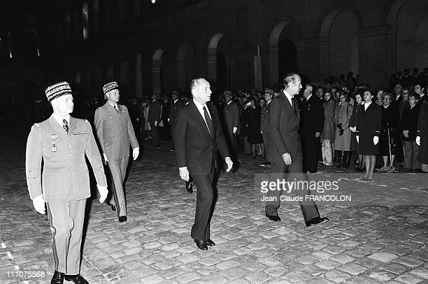 From right French president Valery Giscard d'Estaing General Marcel Bigeard at the military ceremony in the courtyard of the lnvalides in Paris...