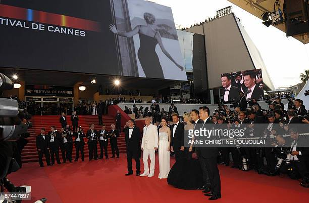 Hong Kong's actors SiuFai Cheung Simon Yam French actor and singer Johnny Hallyday and his wife Laeticia Hong Kong's actress Michelle Ye actor...