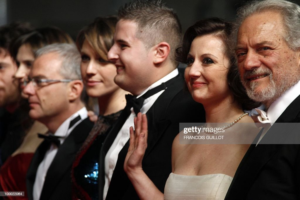 Italian actor Giorgio Colangeli, Italian actress Alina Berzenteanu, Italian actor Marius Ignat, Italian actress Isabella Ragonese and Italian director Daniele Luchetti arrive for the screening of 'La Nostra Vita' (Our Life) presented in competition at the 63rd Cannes Film Festival on May 20, 2010 in Cannes.