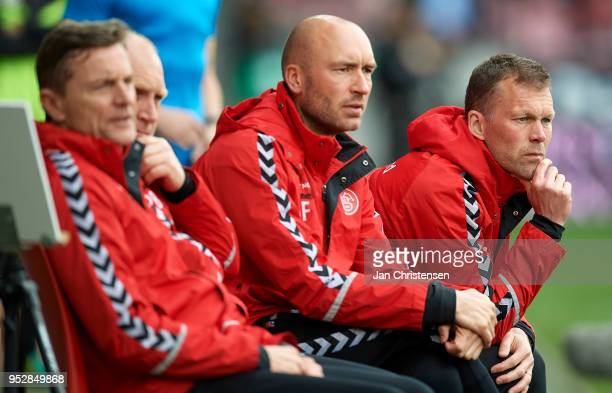 From right Morten Wieghorst head coach of AaB Aalborg and Jacob Friis assistant coach of AaB Aalborg looks on during the Danish Alka Superliga match...