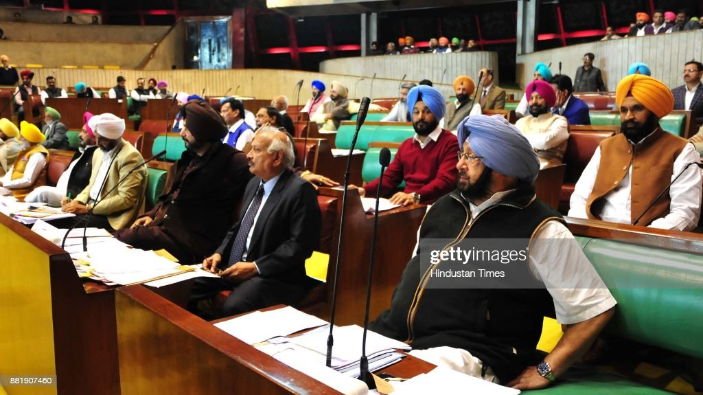 From Right Punjab CM Capt Amrinder Singh Brahm Mohindra Navjot Singh Sidhu and Manpreet Singh Badal at Punjab Vidhan Sabha session on November 29...
