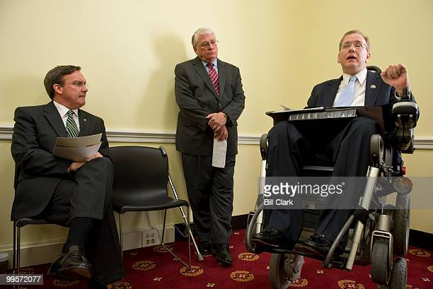 From right Rep James Langevin DRI speaks about the report on disability access to the Capitol as Chief Administrative Officer Dan Beard and Architect...