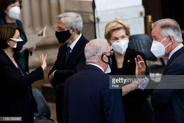 From right, Rep. Richard Neal Sen. Elizabeth Warren , Rep. Gerry Connolly Attorney General Merrick Garland, Sen. Amy Klobuchar and Sen. Susan Collins...