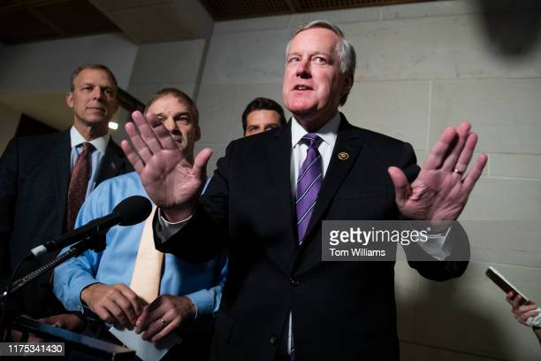 From right Reps Mark Meadows RNC Matt Gaetz RFla Jim Jordan ROhio and Scott Perry RPa speak to the media in the Capitol Visitor Center after Gordon...