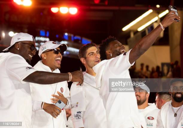 From right San Francisco 49ers Wide Receiver Emmanuel Sanders takes a selfie with San Francisco 49ers Quarterback Jimmy Garoppolo San Francisco 49ers...