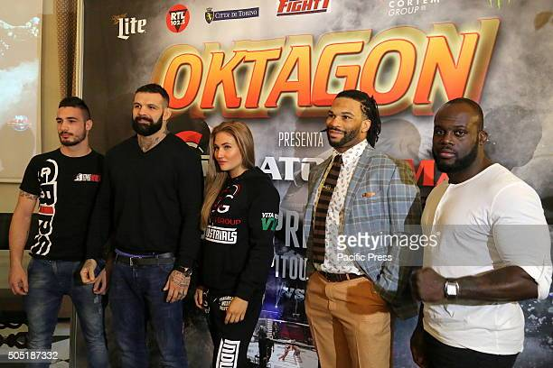 From right the fighters Danilo Belluardo Alessio Sakara Anastasia Yankova Brian Rogers and Melvin Manhoef Oktagon Kickboxing President Carlo Di Blasi...