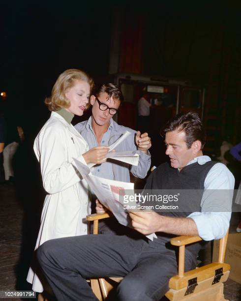 From right to left actors Stuart Whitman Roddy McDowall and Lauren Bacall on the set of the film 'Shock Treatment' 1964