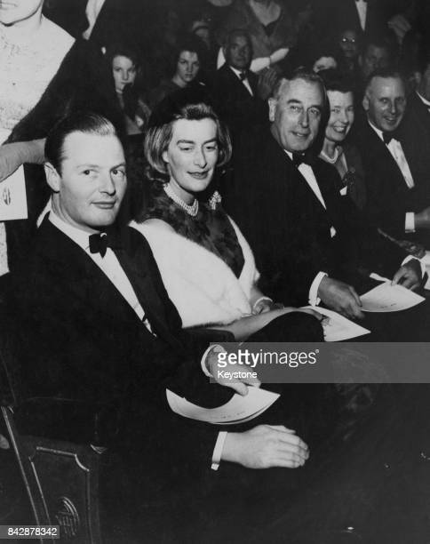 From right to left Earl Mountbatten his daughter Lady Pamela Hicks and her husband David Nightingale Hicks at a gala performance of the musical...