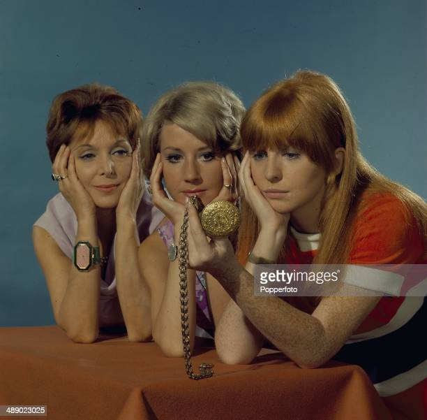 English actresses Jane Asher Diane Clare and Maxine Audley posed on the set of the television drama 'The Man Who Understood Women' in 1967
