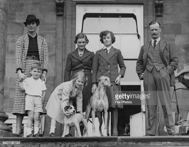 From right to left George Coventry the 10th Earl of Coventry with his children Lady Joan Lady Anne Lady Maria and George Lord Deerhurst and his wife...