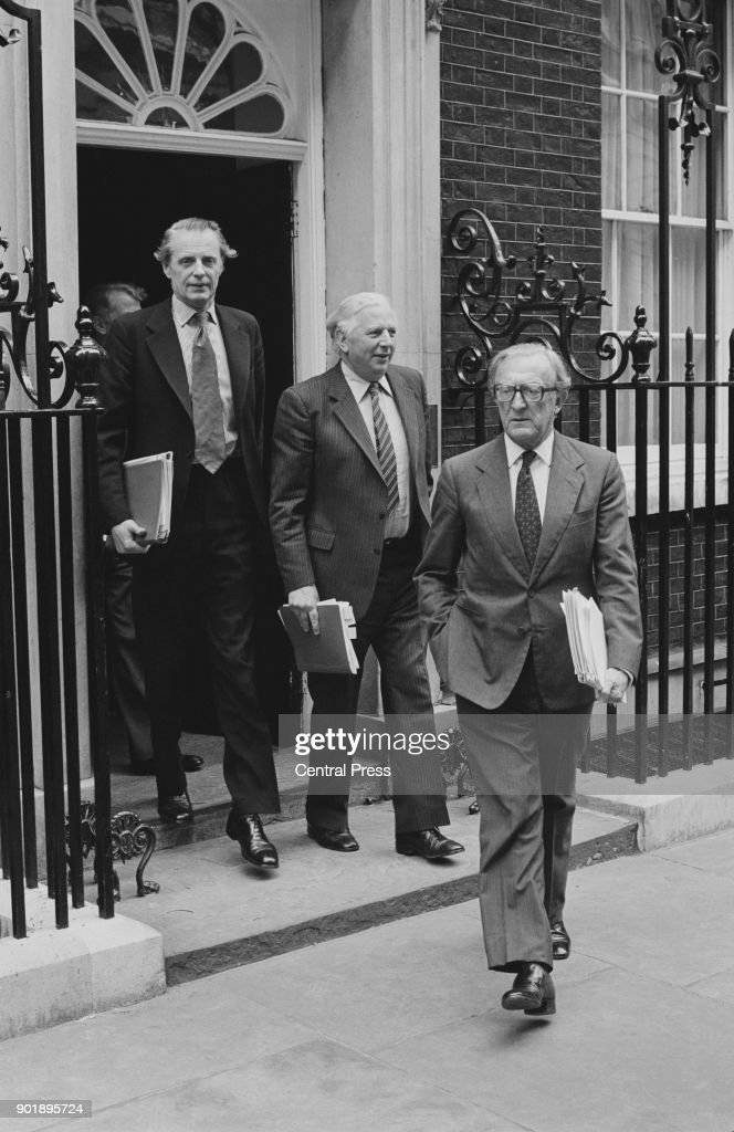 From right to left, Lord Carrington, the Foreign Secretary, Jim Prior (1926 - 2007) and Sir Ian Gilmour (1926 - 2007) leave 10 Downing Street after a cabinet meeting on the EEC budget settlement deal, 2nd June 1980.