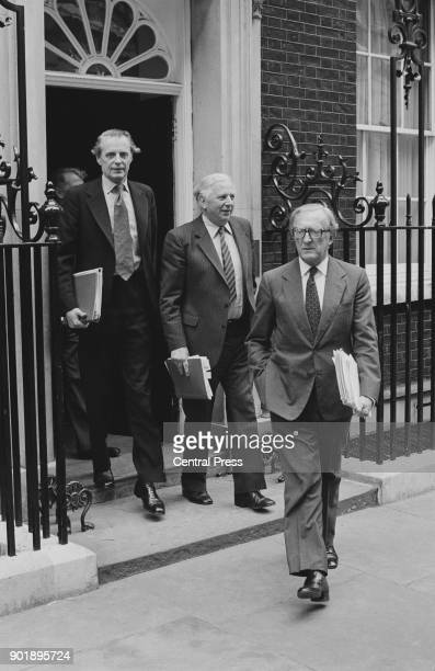 From right to left Lord Carrington the Foreign Secretary Jim Prior and Sir Ian Gilmour leave 10 Downing Street after a cabinet meeting on the EEC...