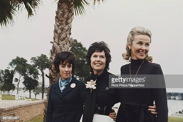 From right to left Louise Shepard Joan Roosa and Louise Mitchell wives of the Apollo 14 crew of Commander Alan Shepard Command Module pilot Stuart...