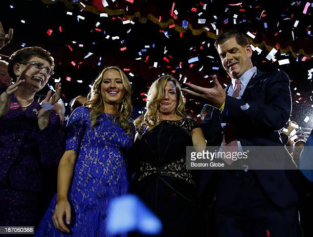 From right to left Marty Walsh celebrates with his longtime partner Lorrie Higgins her daughter Lauren and his mother Mary at his Election Night...