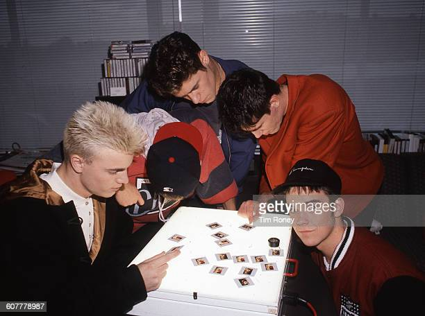 From right to left Robbie Williams Jason Orange Howard Donald Mark Owen and Gary Barlow of English pop group Take That circa 1994