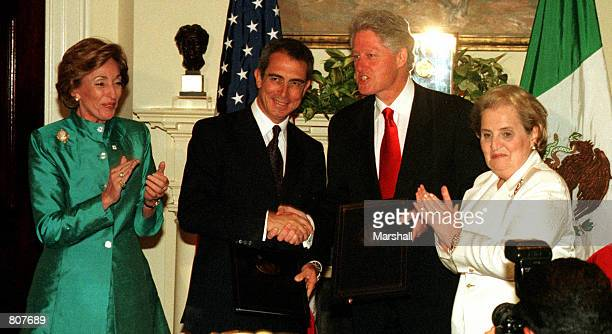 From Right, U.S. Secretary of State Madeleine Albright, U.S. President Bill Clinton, Mexico's President Ernesto Zedillo and Mexico's Secretary of...