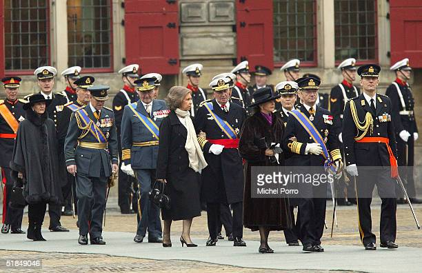 From R-L King Carl Gustav and Queen Silvia of Sweden, Spanish King Juan Carlos and Queen Sofia, The Prince of Denmark and the Duke of Edinburg, King...