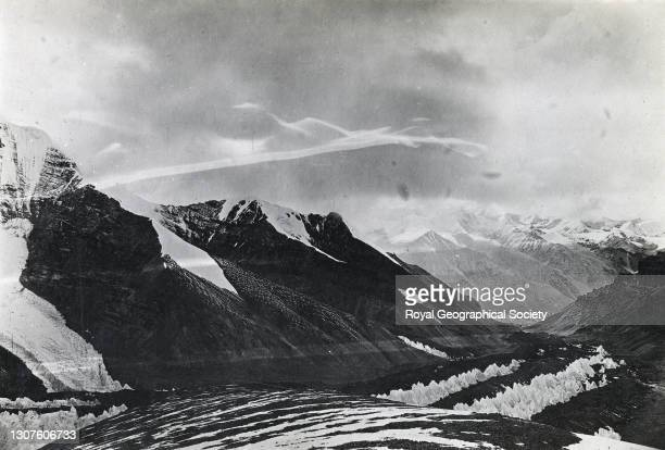 From Rongbuk East Glacier. Mountain landscape. By E.O. Wheeler. Mount Everest Expedition 1921.