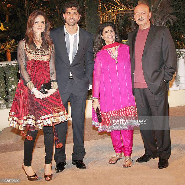 From Roshan's Family Suzanne Khan HrithikPinky and Rakesh Roshan at Imran Khan and Avantika Malik's wedding reception party which was organised by...