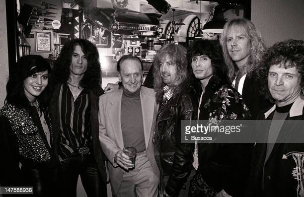From second left American musicians Joe Perry Brad Whitford Steven Tyler Tom Hamilton and Joey Kramer of the group Aerosmith New York New York circa...