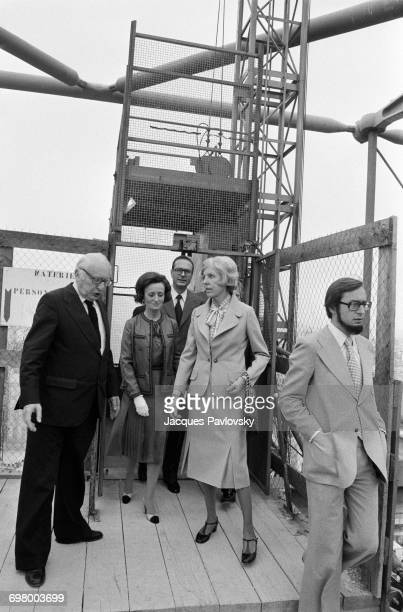Bernadette Chirac Jacques Chirac and Mrs Claude Pompidou visiting the construction site of the future Pompidou Centre Beaubourg Paris 20th June 1975