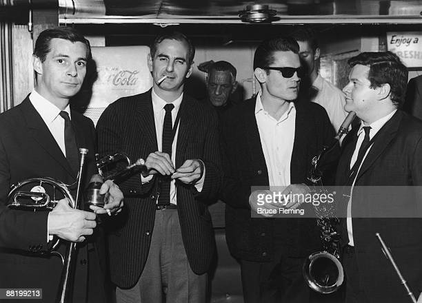 English saxophonist and club owner Ronnie Scott , American trumpeter Chet Baker and English saxophonist Tubby Hayes at Ronnie Scott's Jazz Club,...