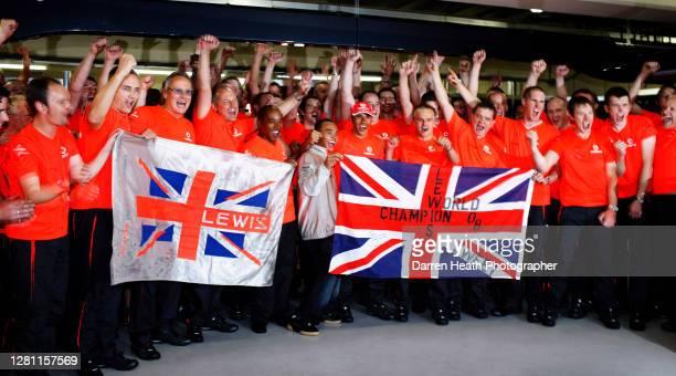 From second left to right: Martin Whitmarsh, Mansour Ojjeh, Ron Dennis, Anthony Hamilton, Nicolas Hamilton, Lewis Hamilton, Heikki Kovalainen and the...