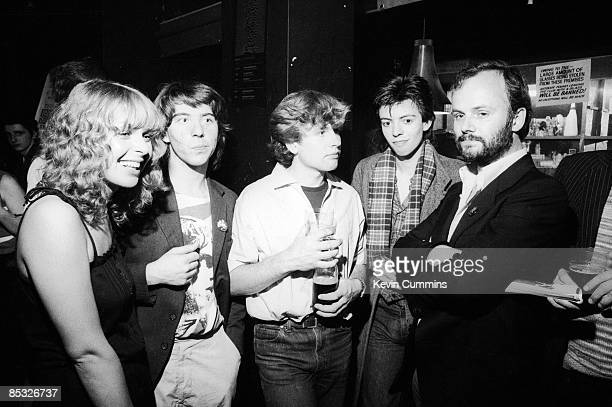 Will Sergeant Les Pattinson and Ian McCulloch of British band Echo and the Bunnymen with BBC Radio 1 disc jockey John Peel at the Russell Club also...