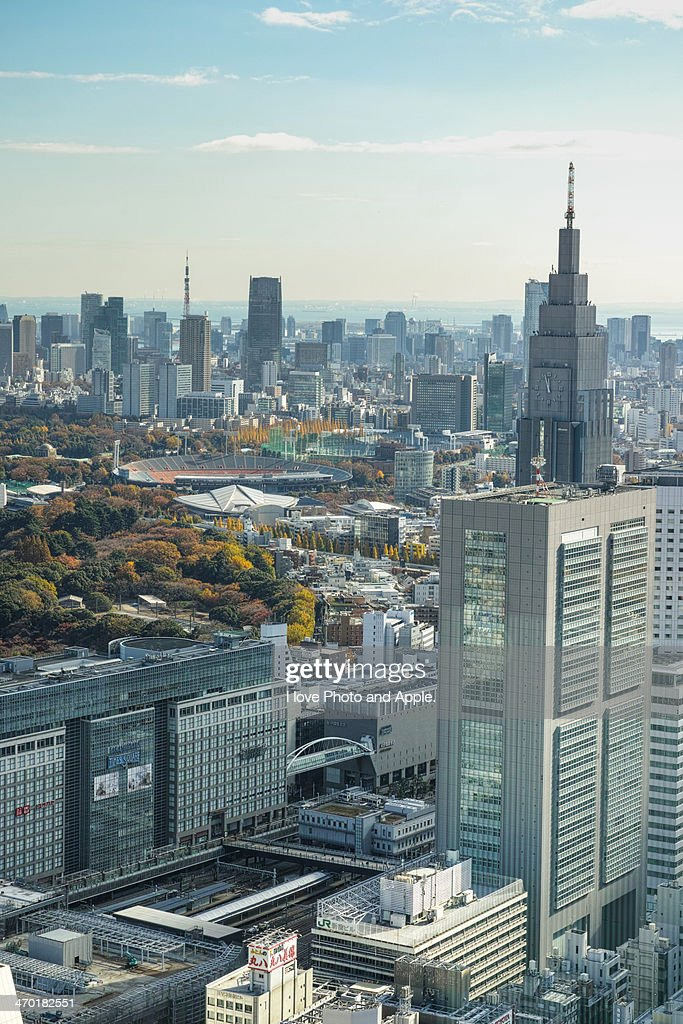 from Shinjuku to Tokyo tower : Stock Photo