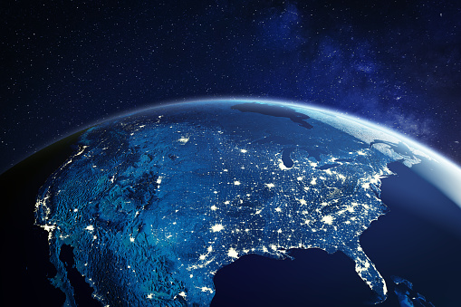 USA from space at night with city lights showing American cities in United States, global overview of North America, 3d rendering of planet Earth, elements from NASA 1172808955