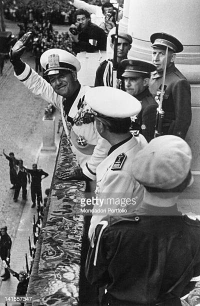 From the balcony of the palace of the Provincial Deputation the Italian Foreign Minister Galeazzo Ciano greeting the crowd with him the Spanish...