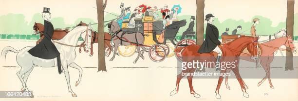 >Comte Boni de Castellane und M Fischhof< 1901 Color lithograph by Sem Aus dem Album >Les Acacias< >Comte Boni de Castellane und M Fischhof< 1901...