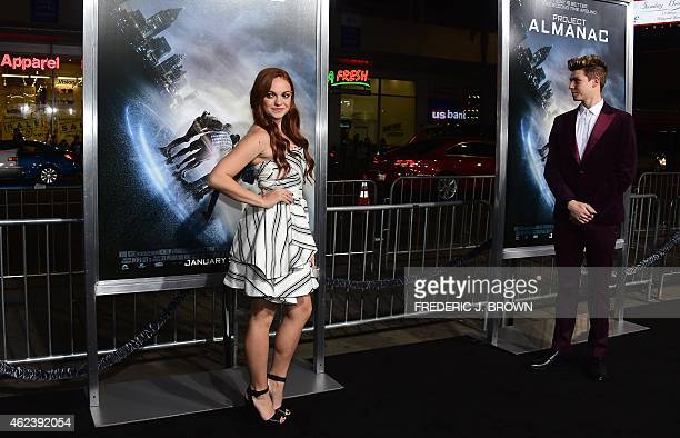 From the cast actress Michelle DeFraites poses on arrival for the Los Angeles Premiere of Project Almanac on January 27 2015 in Hollywood California...