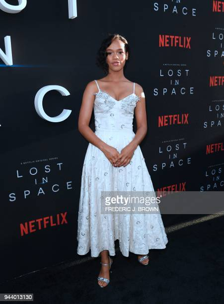 From the cast actress Taylor Russell arrives for Netflix's Lost In Space Season 1 Premiere event in Los Angeles California on April 9 2018 / AFP...