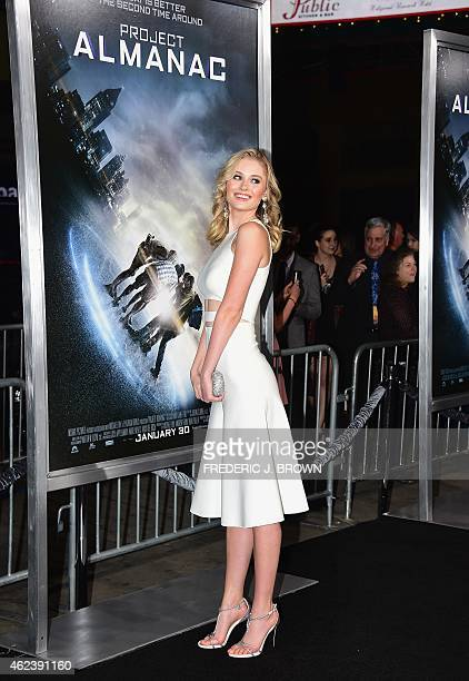 From the cast actress Virginia Gardner poses on arrival for the Los Angeles Premiere of Project Almanac on January 27 2015 in Hollywood California...