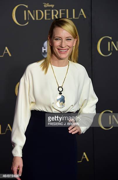 From the cast, Cate Blanchett, who plays the role of the Stepmother, poses on arrival for the World Premiere of Disney's 'Cinderella' in Hollywood,...