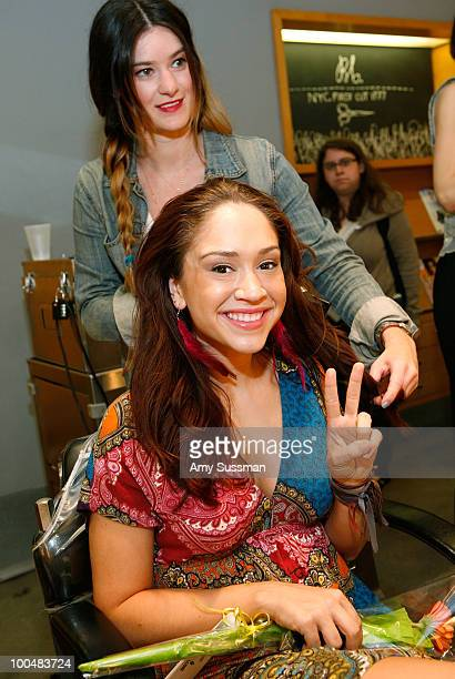 From the cast of HAIR Diana DeGarmo attends a free haircutting session to collect hair clippings to be used in highly absorbent hair booms to help...