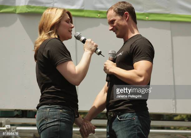 From the cast of [title of show] Heidi Blickenstaff and Jeff Bowen perform at the 2008 Broadway in Bryant Park on July 10 2008 in New York City