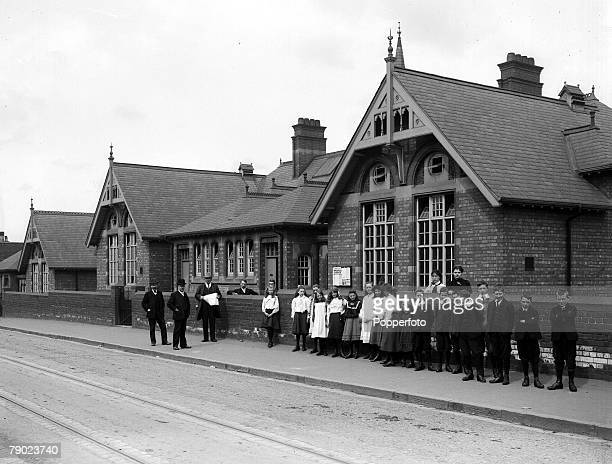 18941930 From the collection of Doncaster area photographer Luke Bagshaw A picture of Staff and pupils outside the Beckett road school
