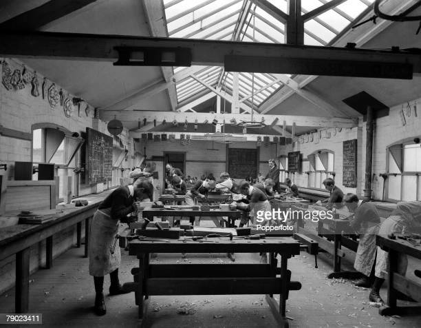 18941930 From the collection of Doncaster area photographer Luke Bagshaw Young boys at work in a joinery class at Eastfield house school for the deaf