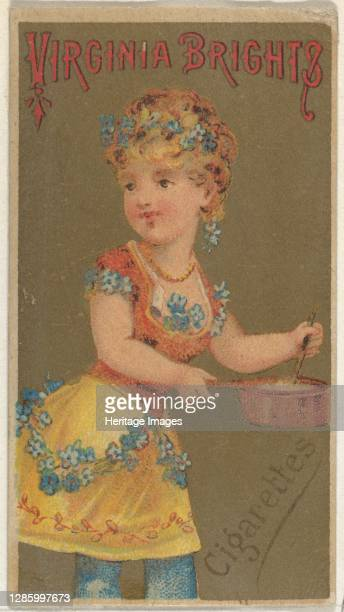 From the Girls and Children series promoting Virginia Brights Cigarettes for Allen & Ginter brand tobacco products, 1886. Artist Allen & Ginter.