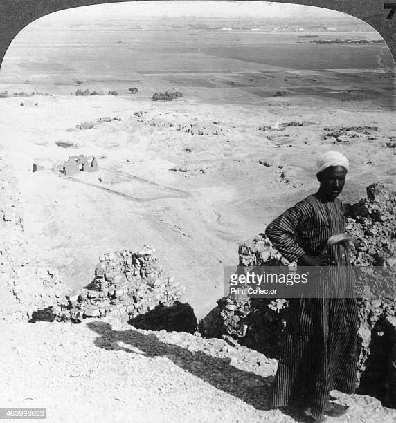 'From the high cliffs at DerelBahri across the plain to Luxor Thebes Egypt' 1905 Stereoscopic card Detail From a series called Egypt Through the...