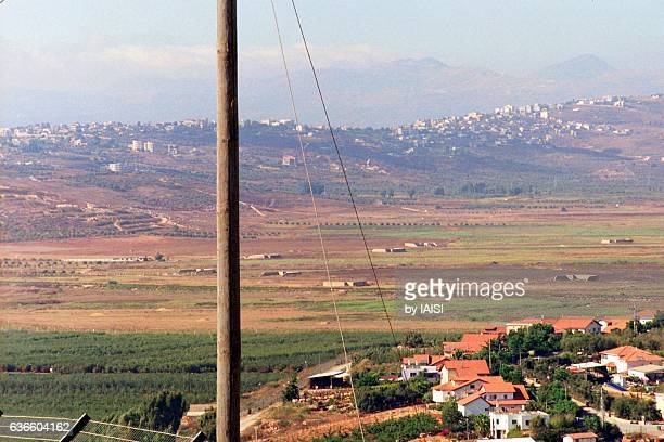 from the last houses of metulla, on the israel-lebanon border, a view to lebanon and the plain of marjayun - allier stock photos and pictures