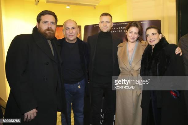 From the left Biagio Forestieri Ferzan Ozpetek Alessandro Borghi Anna Bonaiuto and Lina Sastri at the premier of 'Napoli Velata' directed by Ferzan...