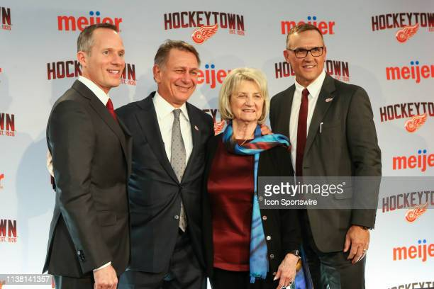 From the left Detroit Red Wings Governor President and CEO Christopher Illitch Ken Holland Marian Illitch and Steve Yzerman pose for photographs...